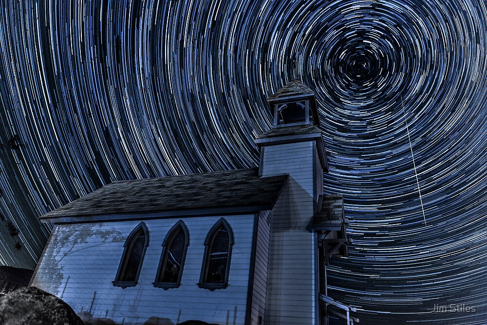 Little Chapel On The Hill Star Trails by Jim Stiles