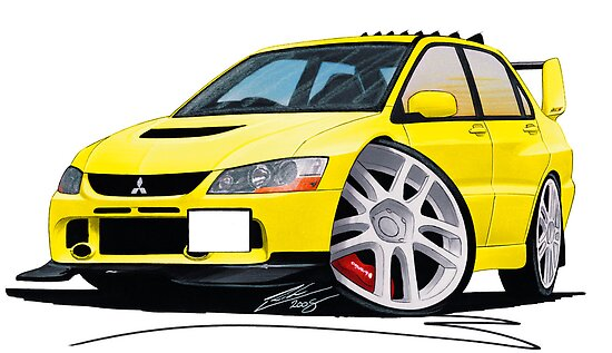 Mitsubishi Evo IX Yellow by Richard Yeomans