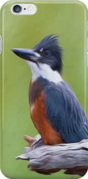Ringed Kingfisher-Oil Painting by Paul Wolf