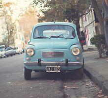 Mint - Blue Retro Fiat Car  by Andreka
