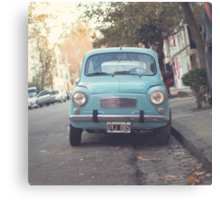 Mint - Blue Retro Fiat Car  Canvas Print