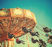 Vintage Chain Swing Ride on Blues Sky by Andreka