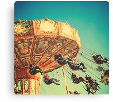 Vintage Chain Swing Ride on Blues Sky Canvas Print