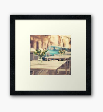 I'm gonna miss you a lot (Retro Pastel Coffee Shop in the Streets) Framed Print