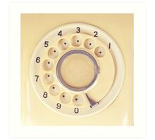 Yellow Retro Telephone  Art Print