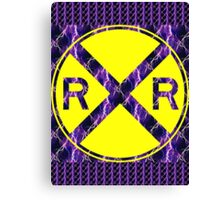 Lightning Railroad Crossing Sign Canvas Print
