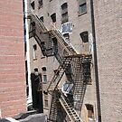 Fire Escapes and Shadows Near the High Line, New York's Elevated Garden and Park by lenspiro