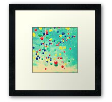 Let your wishes fly (Colour balloons in vintage - retro turquoise sky) Framed Print