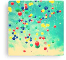 Let your wishes fly (Colour balloons in vintage - retro turquoise sky) Canvas Print