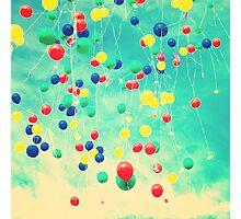 Let your wishes fly (Colour balloons in vintage - retro turquoise sky) Photographic Print