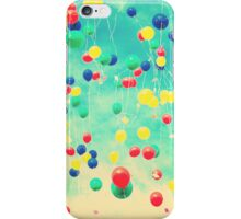 Let your wishes fly (Colour balloons in vintage - retro turquoise sky) iPhone Case/Skin
