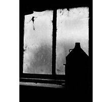 old oil can on window ledge Photographic Print