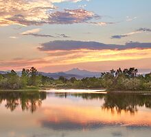 Longs Peak Evening Sunset View   by Bo Insogna