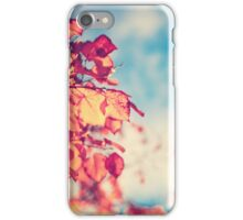 My Secret Garden (Vintage pink autumn leafs and blue sky) iPhone Case/Skin