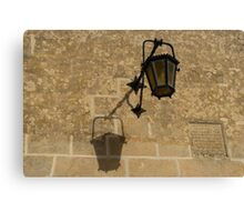 Of Lights and Shadows - Medieval Looking Streetlamp in Mdina, the Ancient Capital of Malta Canvas Print