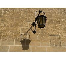 Of Lights and Shadows - Medieval Looking Streetlamp in Mdina, the Ancient Capital of Malta Photographic Print