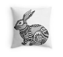 Rabbit Zentangle Throw Pillow