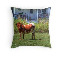 Steer On The Farm Throw Pillow