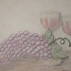 Still Life - Drawing Grapes and Wine by Sherry Hallemeier