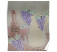 Still Life - Drawing Grapes, Wine and Pitcher Poster
