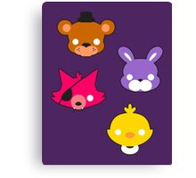FNAF // Freddy's Faces Pattern Cute Kawaii Chibi for kids Canvas Print