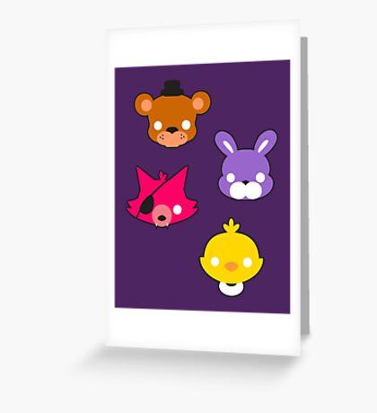 FNAF // Freddy's Faces Pattern Cute Kawaii Chibi for kids Greeting Card