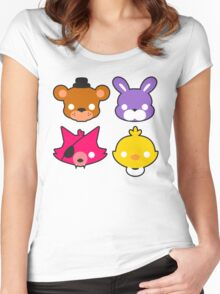 FNAF // Freddy's Faces Pattern Cute Kawaii Chibi for kids Women's Fitted Scoop T-Shirt