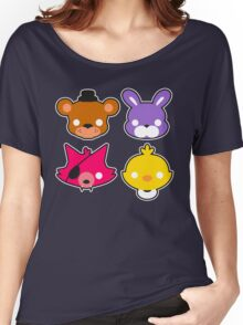 FNAF // Freddy's Faces Pattern Cute Kawaii Chibi for kids Women's Relaxed Fit T-Shirt