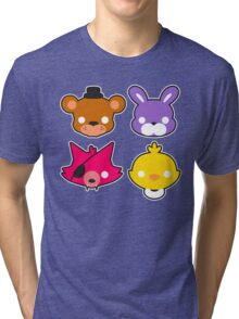 FNAF // Freddy's Faces Pattern Cute Kawaii Chibi for kids Tri-blend T-Shirt