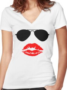 Aviator Sunglasses and Kiss Women's Fitted V-Neck T-Shirt