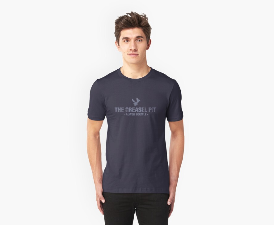 The Greasel Pit - Light Blue on Dark Blue Shirt by James Connolly