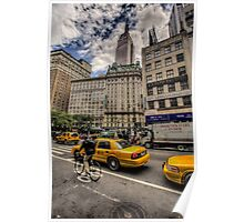 Empire state and cyclist Poster