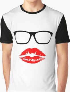 Nerd Glasses and Kiss Graphic T-Shirt