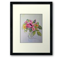 Poppies and roses Framed Print