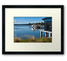 St Helens fishing boats and cafe Framed Print