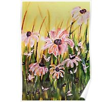 My wonderful Crazy daisies, watercolor Poster
