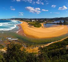 Narrabeen Beach and Lake Panorama by Doug Cliff