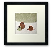 bears and squirrel in the snow Framed Print