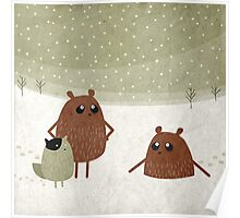 bears and squirrel in the snow Poster