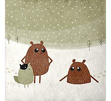 bears and squirrel in the snow Photographic Print