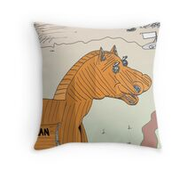 The EURO Trojan Horse for Greece Throw Pillow