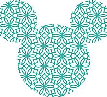 Mouse Turquoise Geometric Silhouette by nemofish