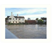Three Horse Shoes Pub on the River Don Doncaster 2007 Art Print