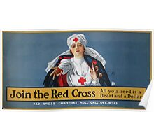 Join the Red Cross all you need is a heart and a dollar Red Cross Christmas roll call Dec 16 23 Poster