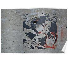 STENCIL: Roy Lichtenstein - drowning girl - graffiti Poster