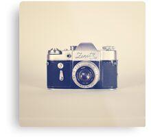 Retro - Vintage Black Camera on Beige Background  Metal Print