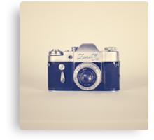 Retro - Vintage Black Camera on Beige Background  Canvas Print