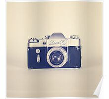 Retro - Vintage Black Camera on Beige Background  Poster