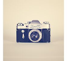Retro - Vintage Black Camera on Beige Background  Photographic Print