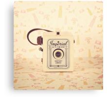 Retro - Vintage Pastel Camera on Girly Pattern Background  Canvas Print